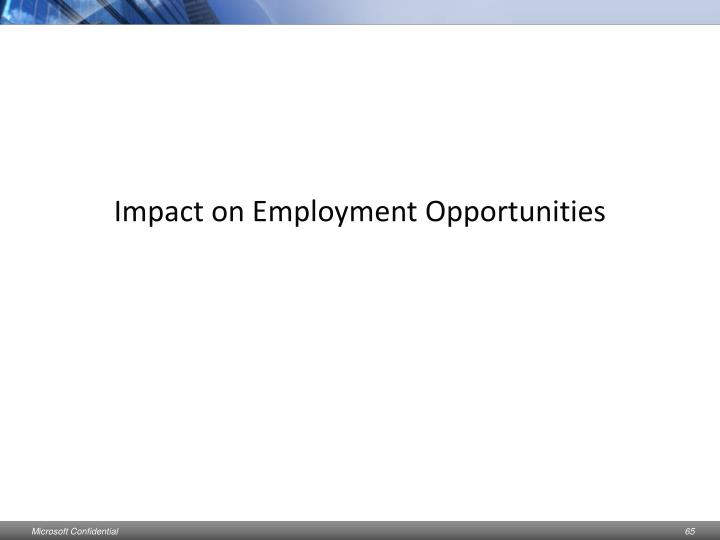 Impact on Employment Opportunities