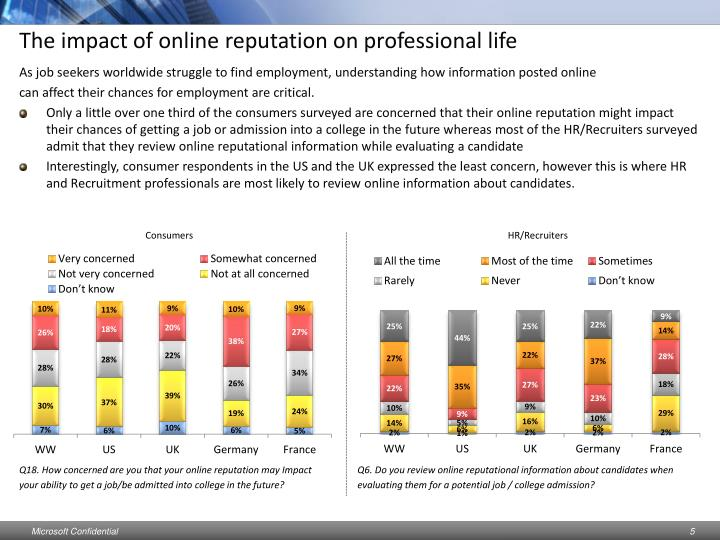The impact of online reputation on professional life