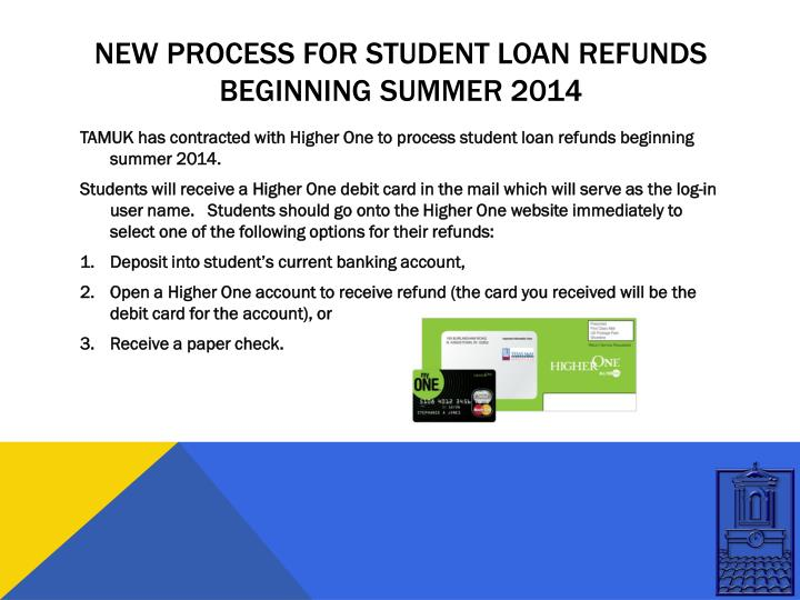New process for Student Loan refunds