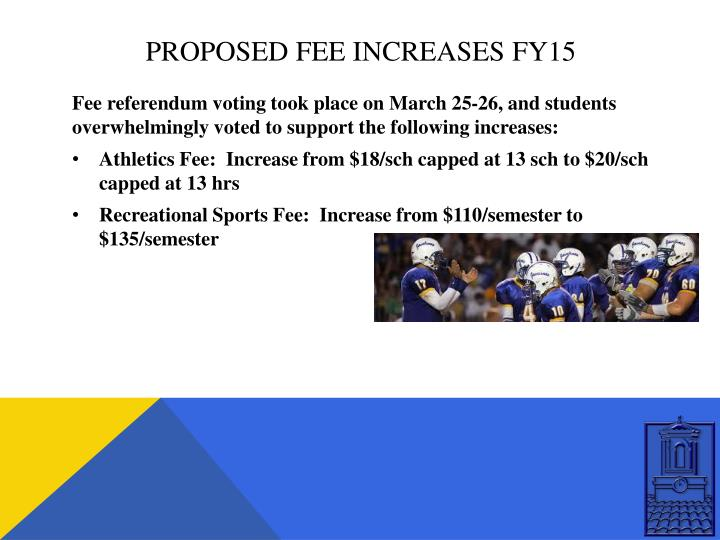 Proposed fee increases fy15