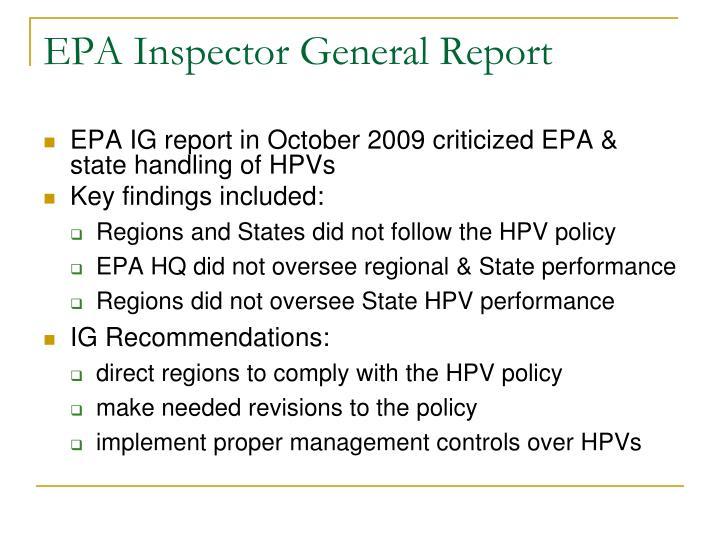 EPA Inspector General Report