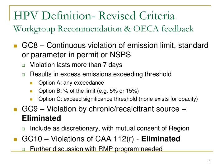 HPV Definition- Revised Criteria