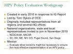 hpv policy evaluation workgroup