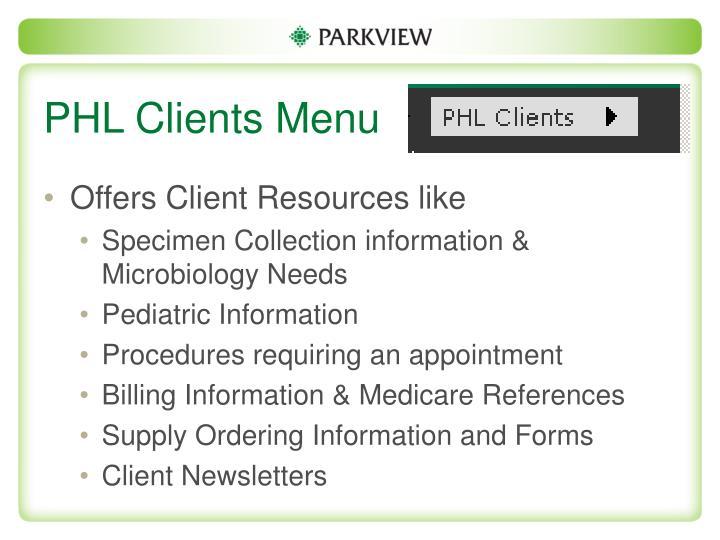 PHL Clients Menu