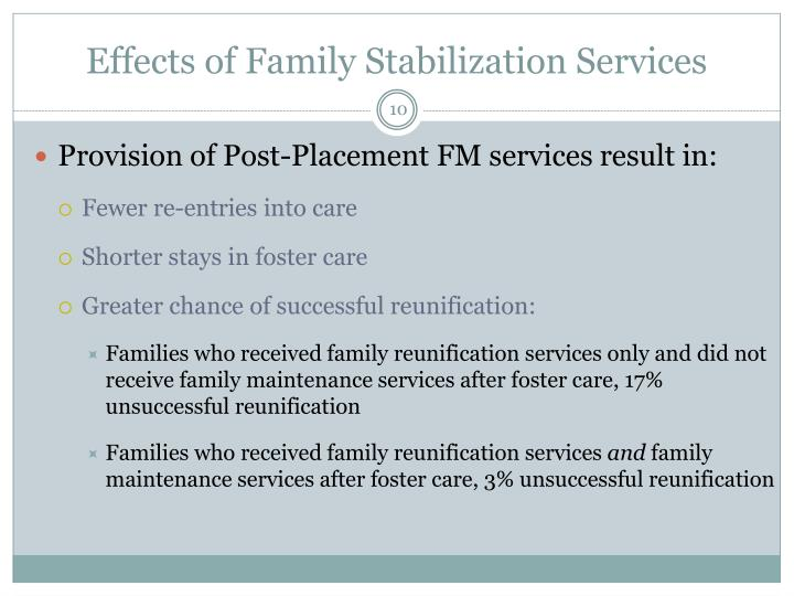 Effects of Family Stabilization Services