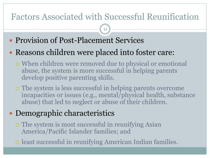 Factors Associated with Successful Reunification