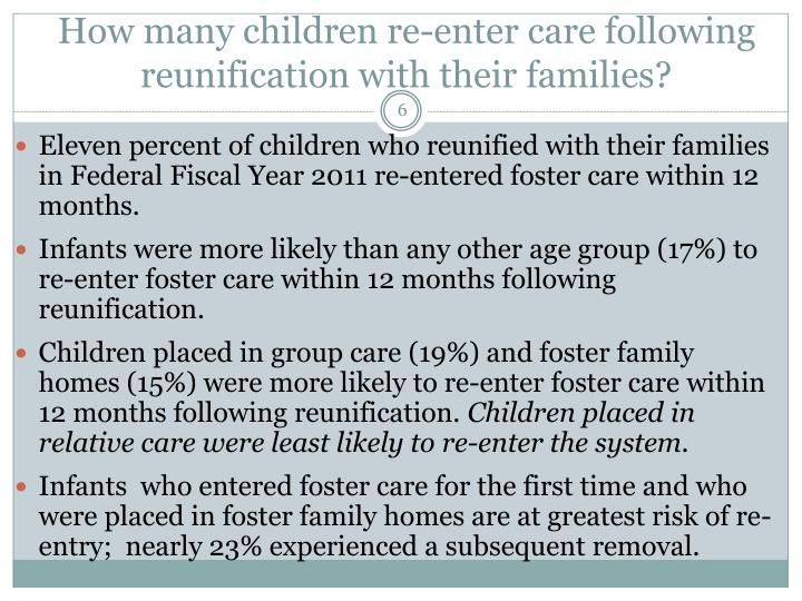 How many children re-enter care following reunification with their families?