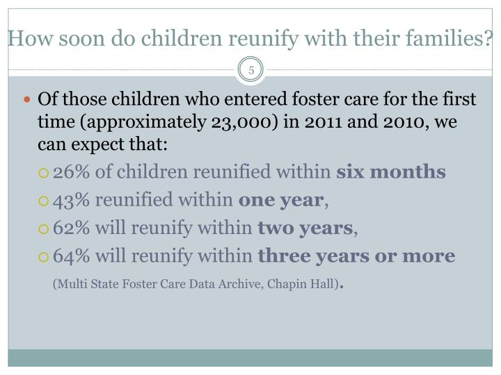 How soon do children reunify with their families?