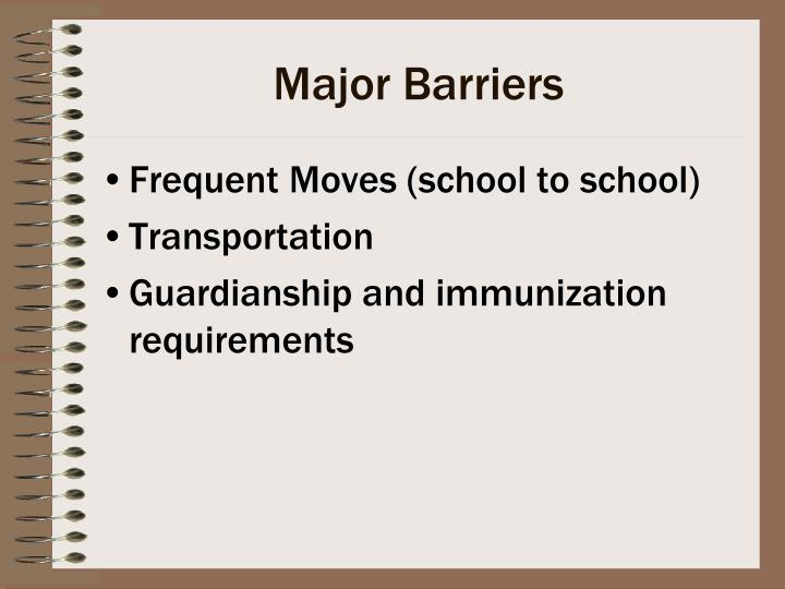 Major Barriers