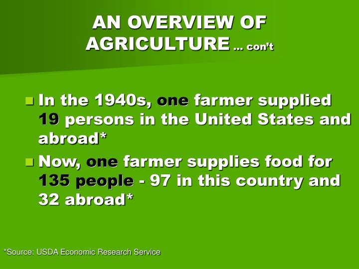 An overview of agriculture con t