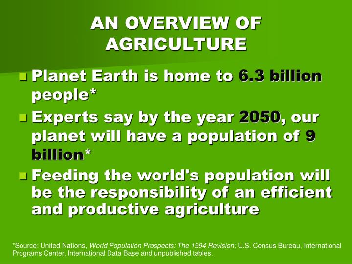 An overview of agriculture