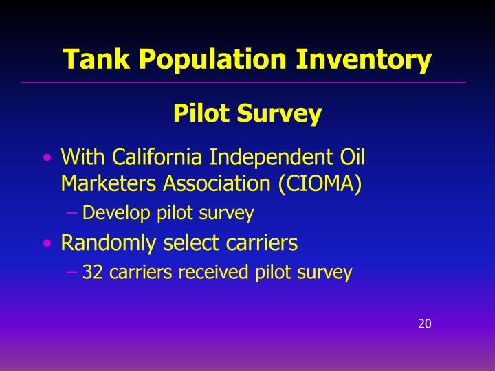 Tank Population Inventory