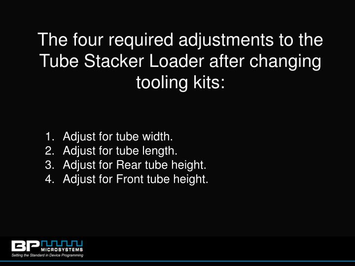 The four required adjustments to the Tube Stacker Loader after changing tooling kits: