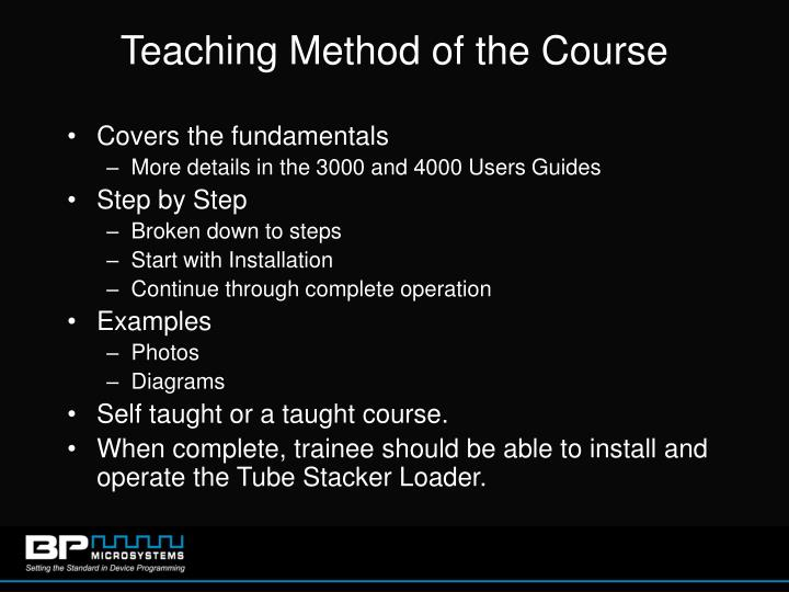 Teaching method of the course