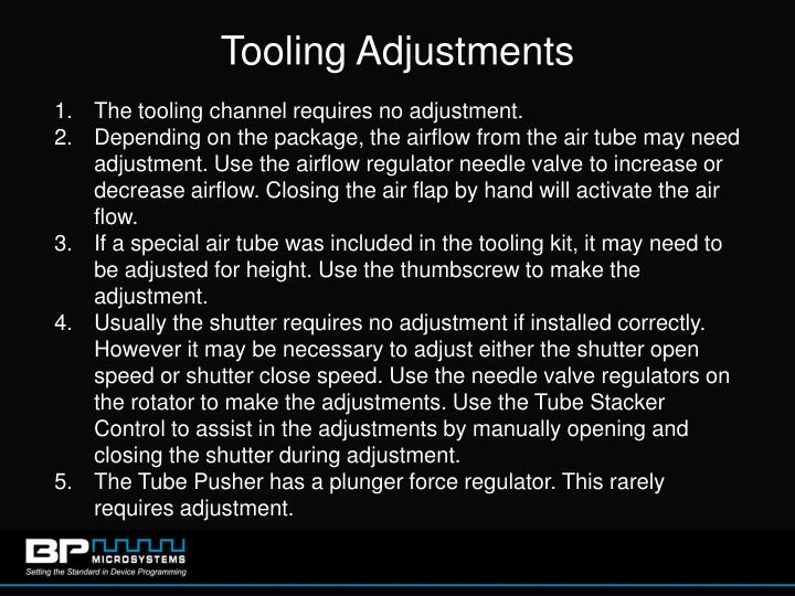 Tooling Adjustments