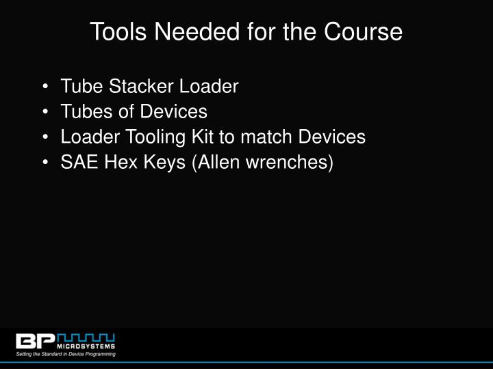 Tools Needed for the Course