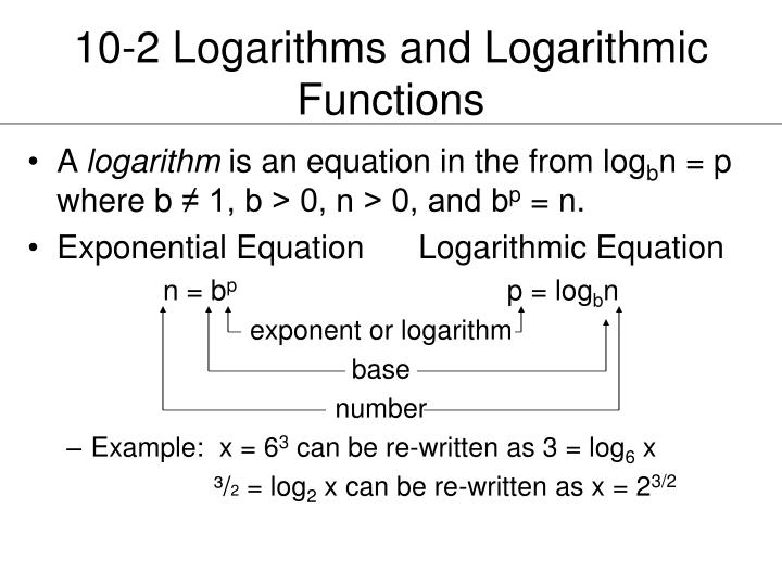 10-2 Logarithms and Logarithmic Functions