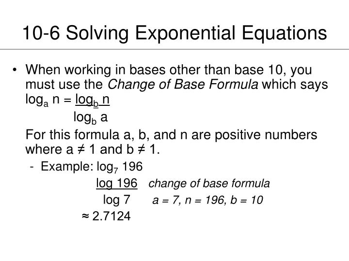 10-6 Solving Exponential Equations