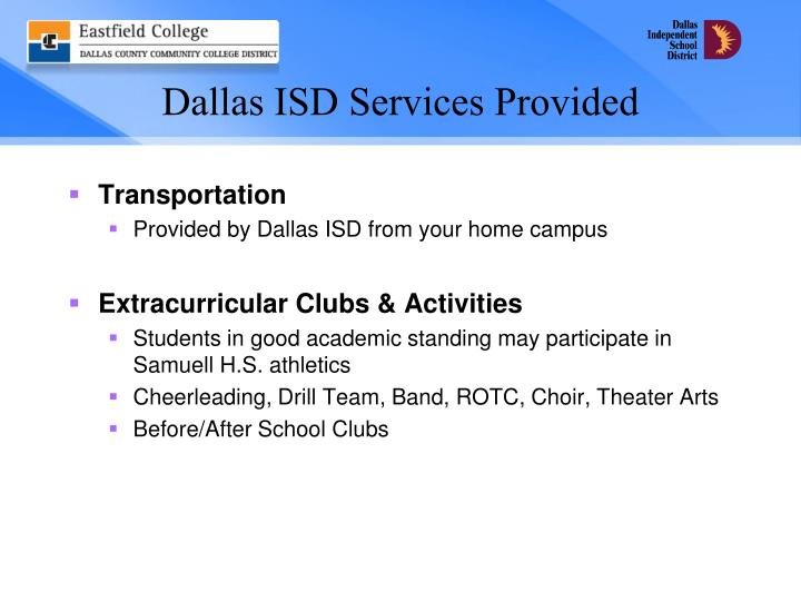 Dallas ISD Services Provided