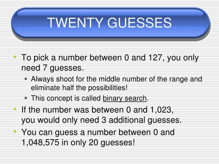 TWENTY GUESSES