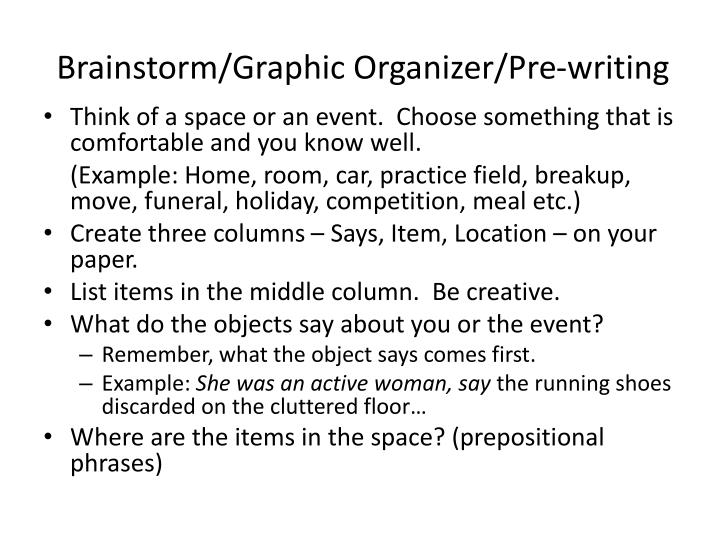 Brainstorm/Graphic Organizer/Pre-writing