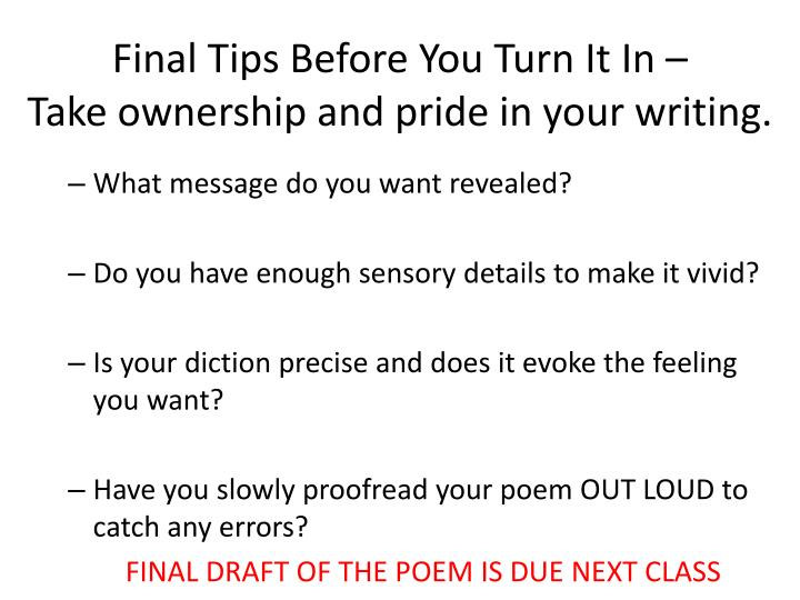 Final Tips Before You Turn It In –