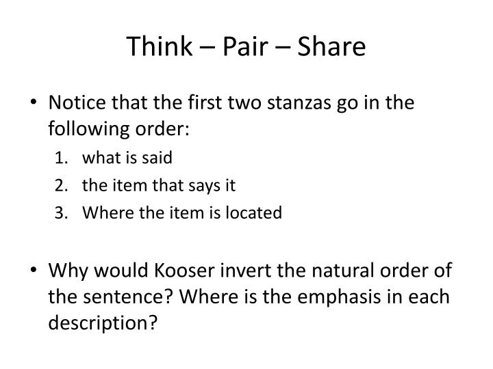 Think – Pair – Share
