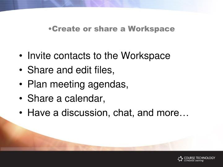 Create or share a Workspace