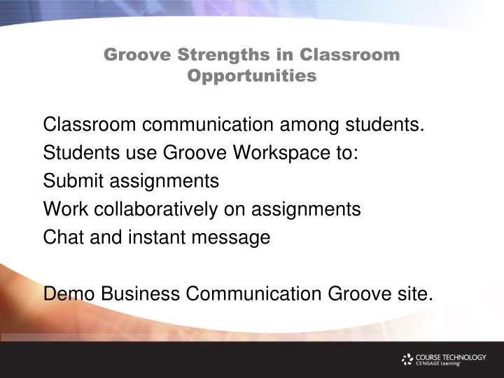 Groove Strengths in Classroom Opportunities