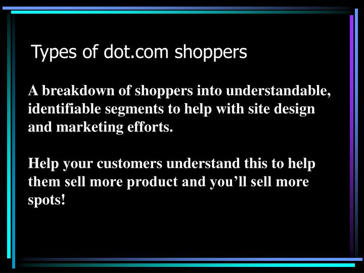 Types of dot.com shoppers
