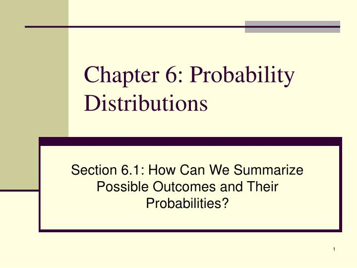 Chapter 6 probability distributions