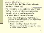 learning objective 6 how can we find the value of z for a certain cumulative probability
