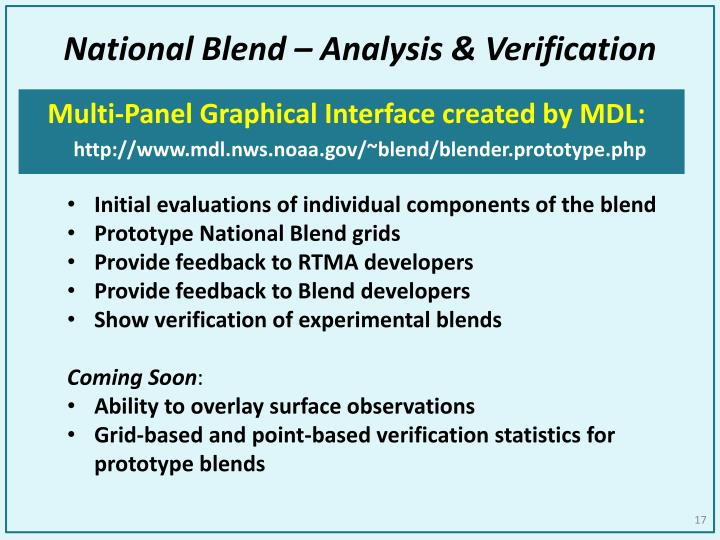 National Blend – Analysis & Verification