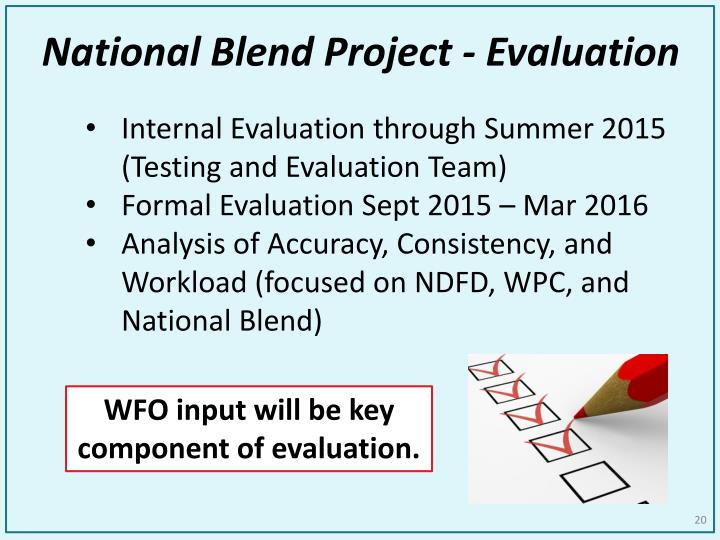 National Blend Project - Evaluation
