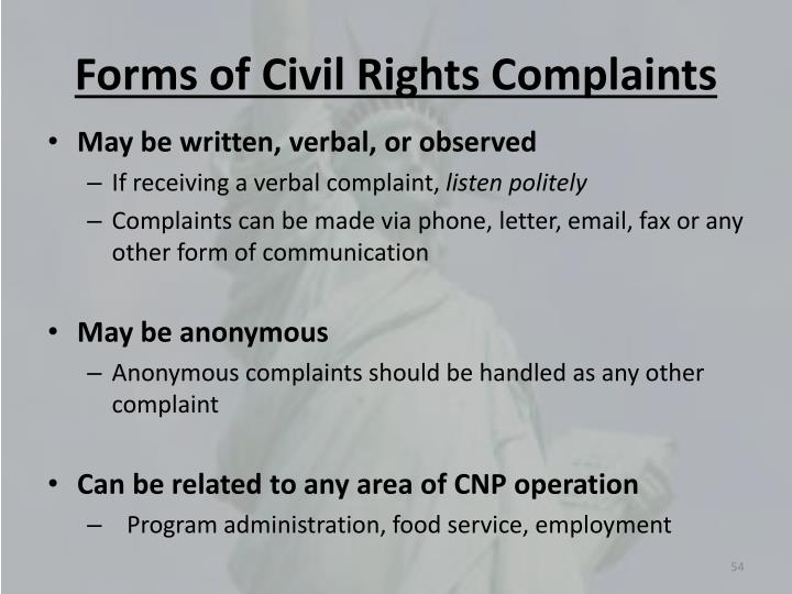 Forms of Civil Rights Complaints