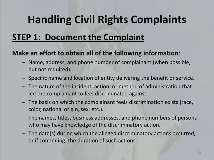 Handling Civil Rights Complaints