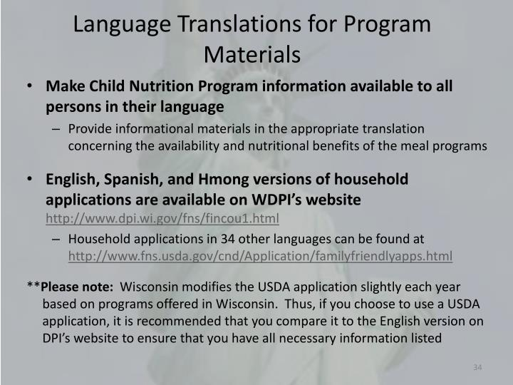 Language Translations for Program Materials