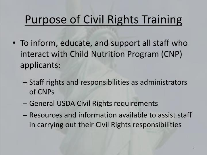 Purpose of civil rights training
