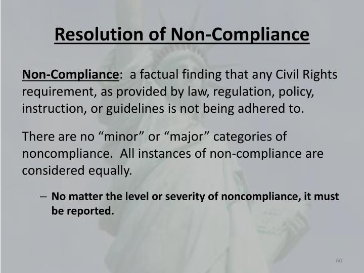 Resolution of Non-Compliance