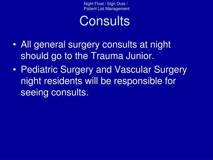 Consults
