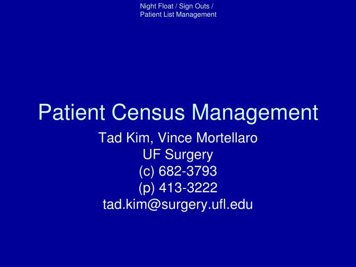 Patient Census Management