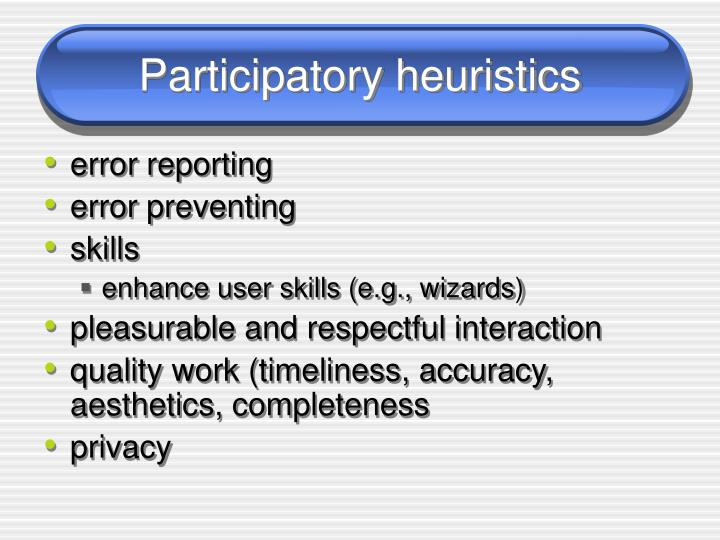 Participatory heuristics