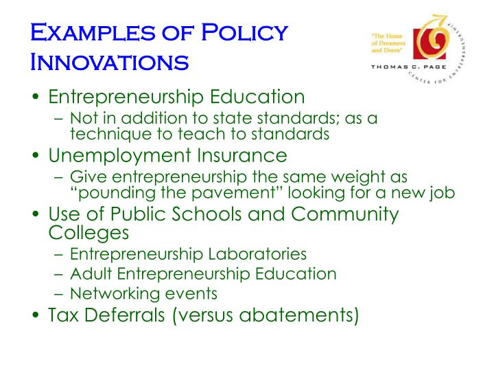 Examples of Policy Innovations