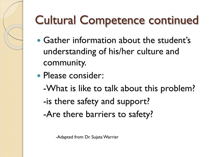 Cultural Competence continued