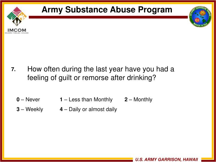 How often during the last year have you had a feeling of guilt or remorse after drinking?