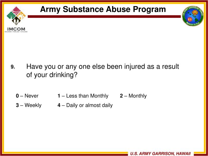 Have you or any one else been injured as a result of your drinking?