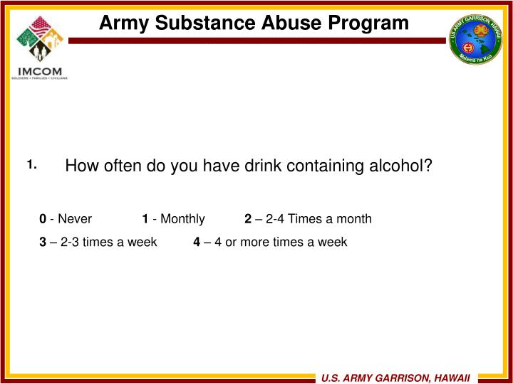 How often do you have drink containing alcohol?