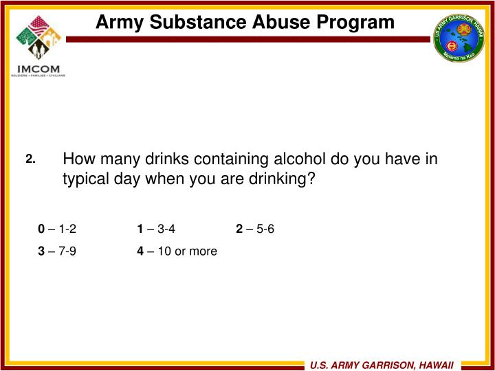 How many drinks containing alcohol do you have in typical day when you are drinking?