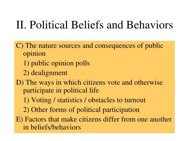 II. Political Beliefs and Behaviors
