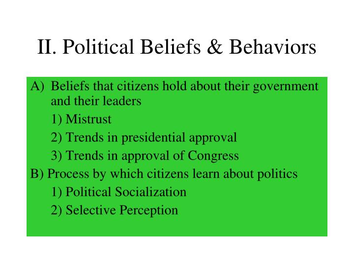 II. Political Beliefs & Behaviors